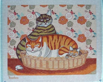 Two Cats in Basket Needlepoint Theodora Handpainted #16 Canvas DMC Colors