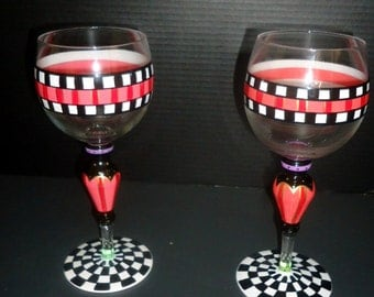 MACKENZIE CHILDS Courtly Check water ~ wine  drinking goblets   PAIR