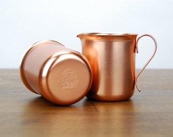 Color Craft Aluminum Copper Tone Sugar & Creamer Set, Mid Century Vintage Housewares, Metalware