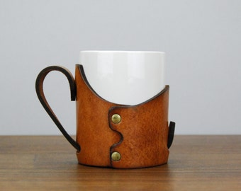 Rustic Leather & Ceramic Coffee Mug, Riveted Leather Sheath, Embossed MX Logo, Leatherwork, Vintage Home or Office Accessory