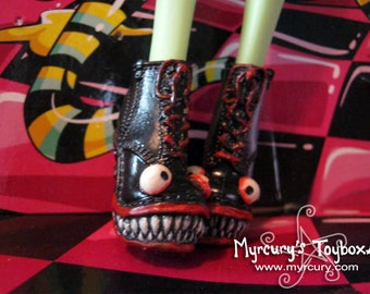 Monster Shoes! MADE TO ORDER Repainted Boots for Monster Dolls with jagged teeth and big eyes Custom painted OoAK doll shoes!
