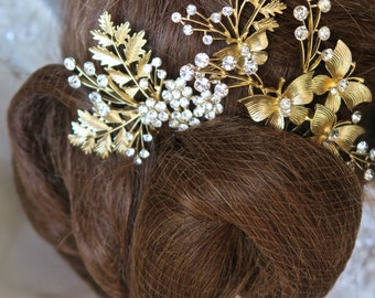 Gold Bridal Combs with Leaves  Cystal Flower Wedding Hair Accessories Tiara 3pcs/set Bridal Accessories
