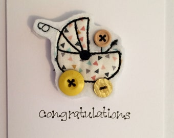 Cards - YELLOW Congratulations Embroidered Card - Personalised