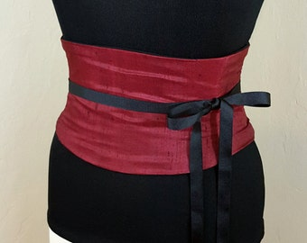Burgundy Silk Corset Belt Waist Cincher Raw Dupioni Silk Any Size Boned Sash