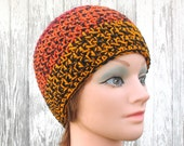 Crochet Beanie Hat - Skull Cap in Black with Shades of Red and Orange
