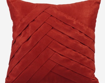 Rust Pillow Cases 16x16 Couch Pillows Pleated Suede Pillow Cover - Rust No Limits No Lines