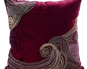 """Handmade Purple Pillow Cases, 16""""x16"""" Velvet Pillowcase, Square  Zardozi Sparkly Glitter Pillows Cover - Zardozi Waves"""