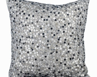 Grey Silver Couch Cushion Covers 16 x 16 Pillow Covers Silk Embroidered with Textured Sequins Decorative Pillows - Silver Shine
