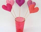 Bunch of Pink Felt Hearts - Set of 5 Plush Handmade Felt Love Hearts on sticks in shades of pink. Heart Toppers. Felt Heart Sticks.