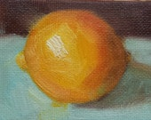 ACEO Original Oil Painting, Lemon, Easel Art, Wall Decor, Kitchen Art, Food Art, Small Format Art