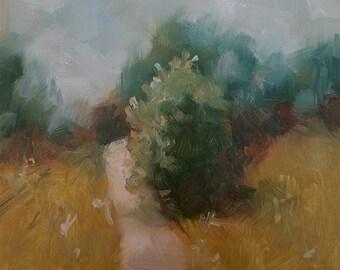 "Small Original Oil Painting, Landscape, 5 x 5"", Unframed, Wall Art"