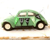 Mint Green LUCKY BUG- Vintage Tonka Volkswagen VW Bug Beetle, With A Handmade Fabric Bunting BanneR