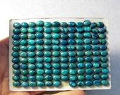 25% Off SALE RARE Bisbee Arizona Turquoise  Cabochon, QTY5, 5mm x 7mm Oval Turquoise Cabochon, Natural Turquoise