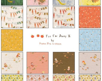 Heather Ross Far Far Away III cotton LINEN for Kokka Japan, 18-pc FQ set - FFA3 Fat Quarter fabric bundle