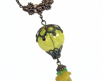 Yellow Rose - Hot Air Balloon Necklace Handmade Jewelry Jewellery