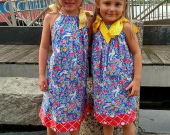 Pillowcase Dress -  Girls Spring Dress - Bunny Dress - Birthday Dress - Toddler Girl Dress -  Groovy Gurlz