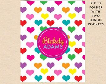 Rainbow Hearts - Kids Colorful Hearts - Personalized, Custom Pocket Folder