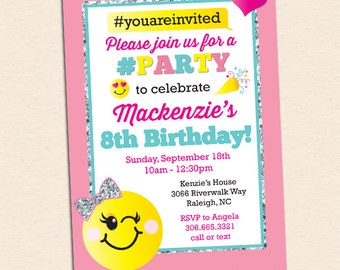 Emoji Birthday Party Invitation - Pink, Yellow, Glitter, Emoji Theme Party Invite - (Digital File - Printable)