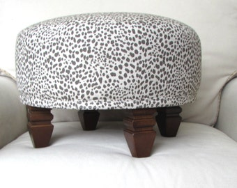 TUFFET in cub print gray, upholstered Stool/ottoman/tuffet/seating furniture