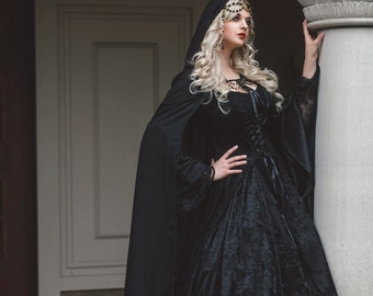 Gothic Gwendolyn Medieval or Renaissance Fairy Wedding Gown Velvet and Lace Custom XS-XL with Cape