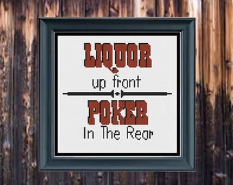 Liquor up front Poker in the rearfunny adult saying grandma style sampler subversive naughty - pdf cross stitch pattern -  -INSTANT DOWNLOAD