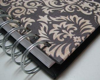 Journal/ Blank Journal/ Prayer Journal/ Daily Journal/ Lined Journal/ Wire bound journal/ Diary/ sketchbook/ Notebook/ Brown Tan Damask