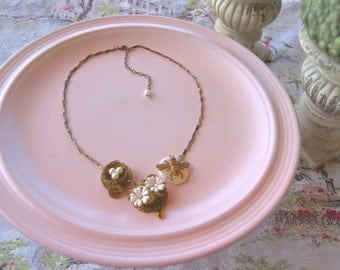 Birds and Bees vintage style necklace