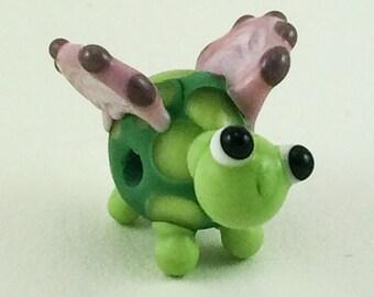 Winged Turtle Lampworked Glass Figurine Bead