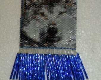 Wolf Beaded Bag in Blues