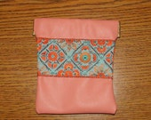 Coral Leather Coin Purse, & Turquoise Multi Embroidered Trim