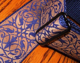 Embroidered Renaissance Pattern Tan & Navy GUITAR STRAP