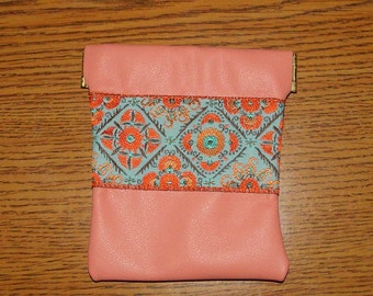 Leather Coin Purse,Peach & Turquoise,Embroidered Trim