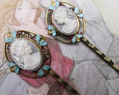 Cameo Bridal Hair Jewelry blue cameo Bobbi Pins Hair Clips wedding Hair pins bronze Woodland Wedding Bridal Hair Accessories