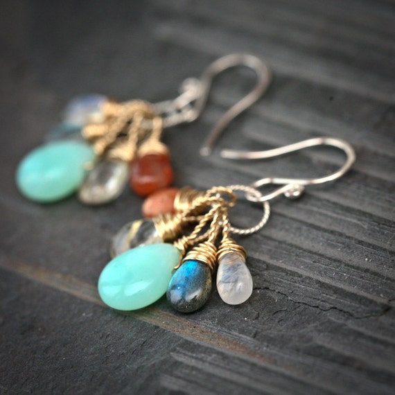 Gatherings - Chrysoprase Labradorite Moonstone Gold Rutilated Quartz and Sunstone Wire Wrapped Mixed Metal Earrings
