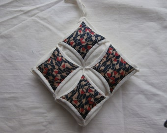 CATHEDRAL WINDOWS PINCUSHION From Vintage Silk Choose one.
