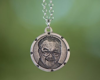 Memorial Engraved Photo Pendant