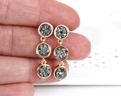 SALE * Druzy color earrings - rich color -HEMATITE Stones