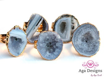 SALE ~ Druzy ring Gold Plated- resize-able - pick your design Agate stones with druzy