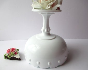 Large Vintage Milk Glass Compote Indiana Glass Teardrop