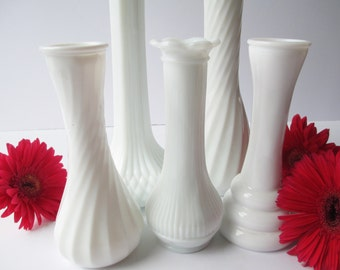 Vintage Milk Glass Bud Vase Collection Randall Hoosier Collection of Five - Weddings Bridal