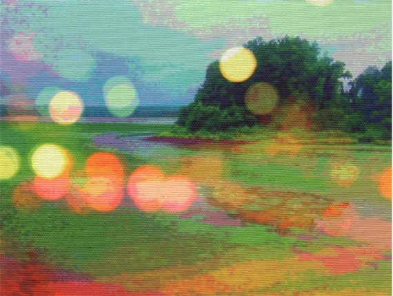 Digital print on canvas- Brushy Isle on the Hudson River by Gretchen Kelly