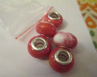5 Red Swirled Euro Beads Craft Supplies
