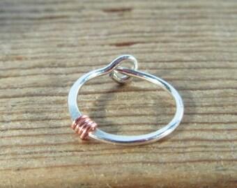 Cartilage Hoop Earring Silver Hammered & Wrapped SINGLE - Minimal Earring, Dainty Earring, Small Hoop Earring, Piercing Earring, Rook