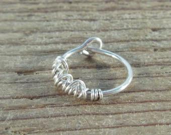 Hoop Earring Silver Tangled SINGLE - Tragus Jewelry, Rook Jewelry, Daith Jewelry, Helix Jewelry, Cartilage Jewelry, Ear Jewelry, Tangle Hoop