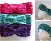 Crocheted Headband with Bow, assorted colors and sizes
