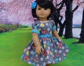 Bright Roses - vintage style dress for American Girl doll