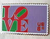 Love Stamp Brooch Lapel Pin Silver US Mail Red Purple Green