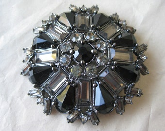 Flower Gray Smoke Brooch Black Rhinestone Vintage Pin