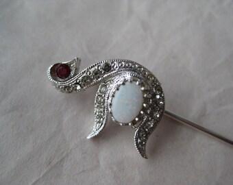 Swan Bird Opal Rhinestone Stick Pin Silver Red Clear Vintage
