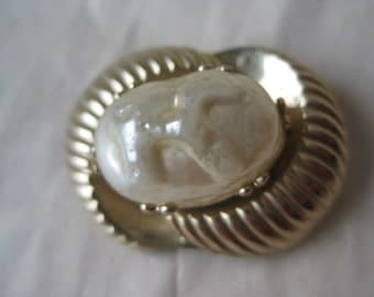 Pearl Cab Gold Brooch Vintage Pin